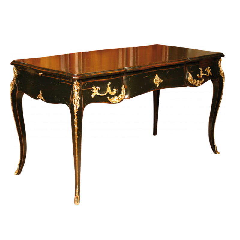 Bureau style louis xv claude laqu noir louis xv for Meuble bureau louis xv