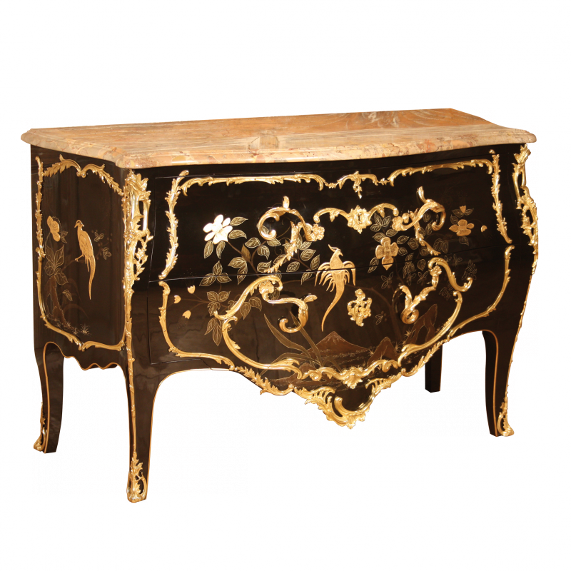 commode delorme noir laque de chine louis xv ateliers allot meubles et si ges de style. Black Bedroom Furniture Sets. Home Design Ideas
